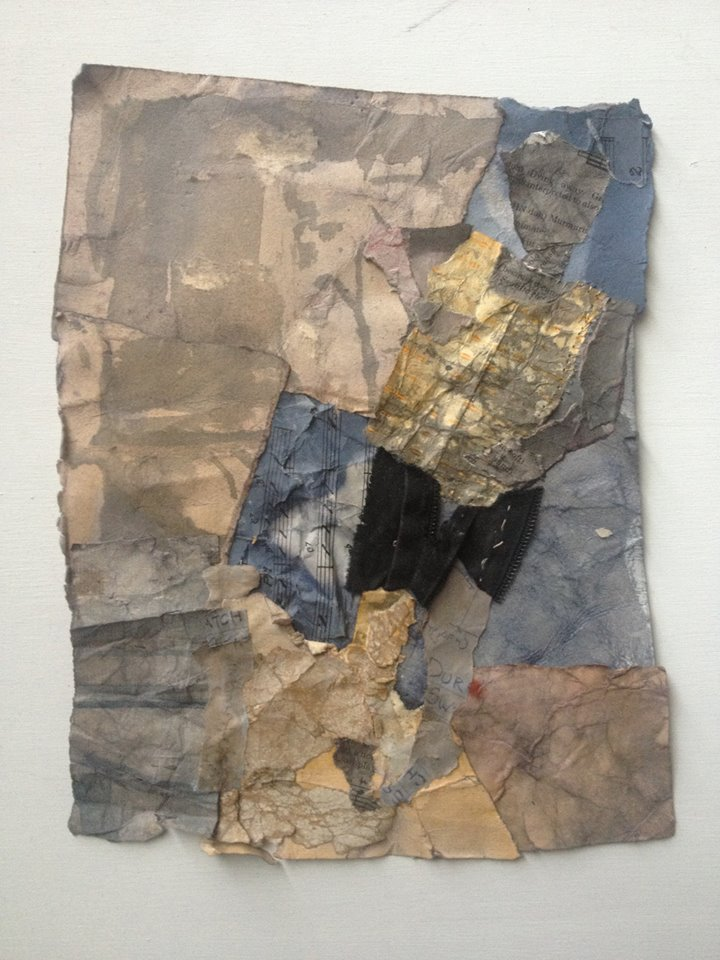 "Black Shorts, collage with dyed paper and fabric, 8"" x 11"""