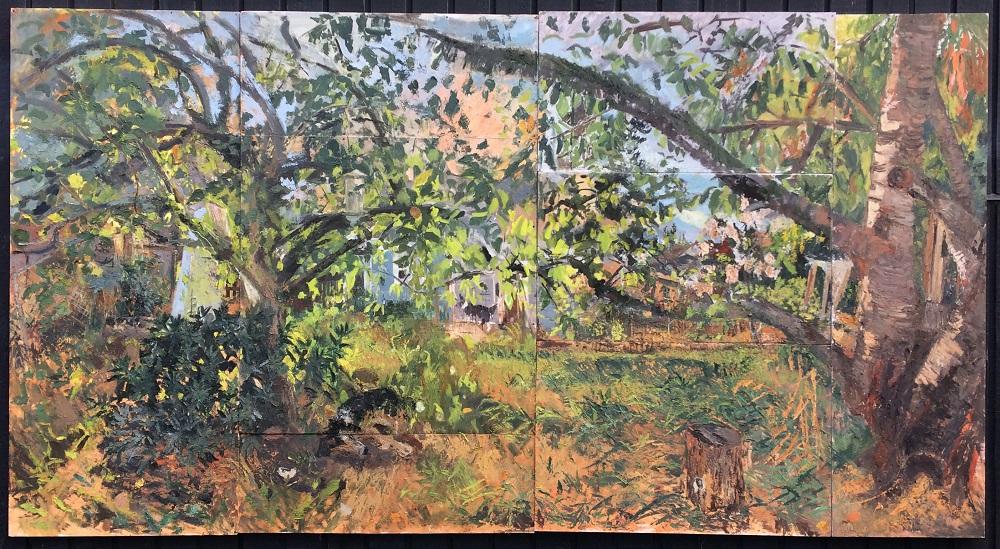 Backyard on Evanston (Summer), oil on panels, 7' x 13'