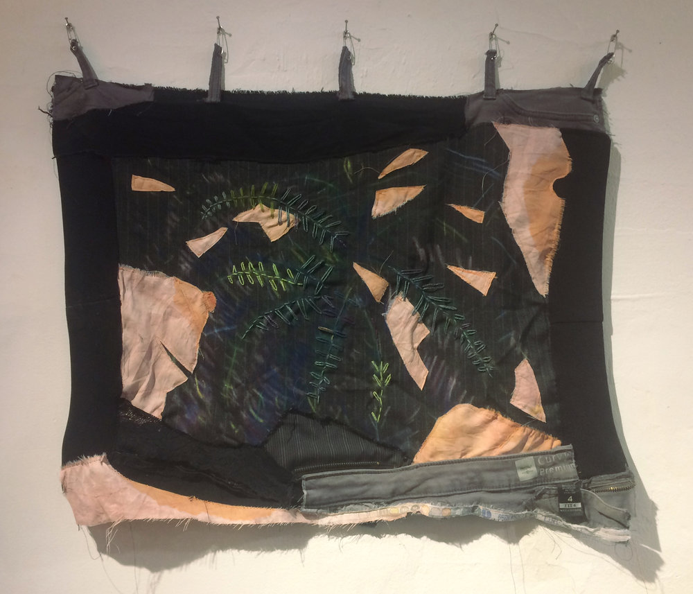 Secret fern, dyed fabric, pieces of my jeans, and embroidery, 2017