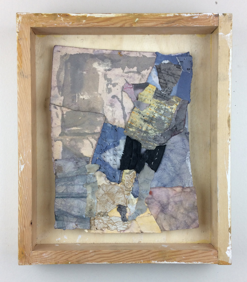 "Black Shorts, found and dyed paper, cloth, thread, 14"" x 12"", 2016"
