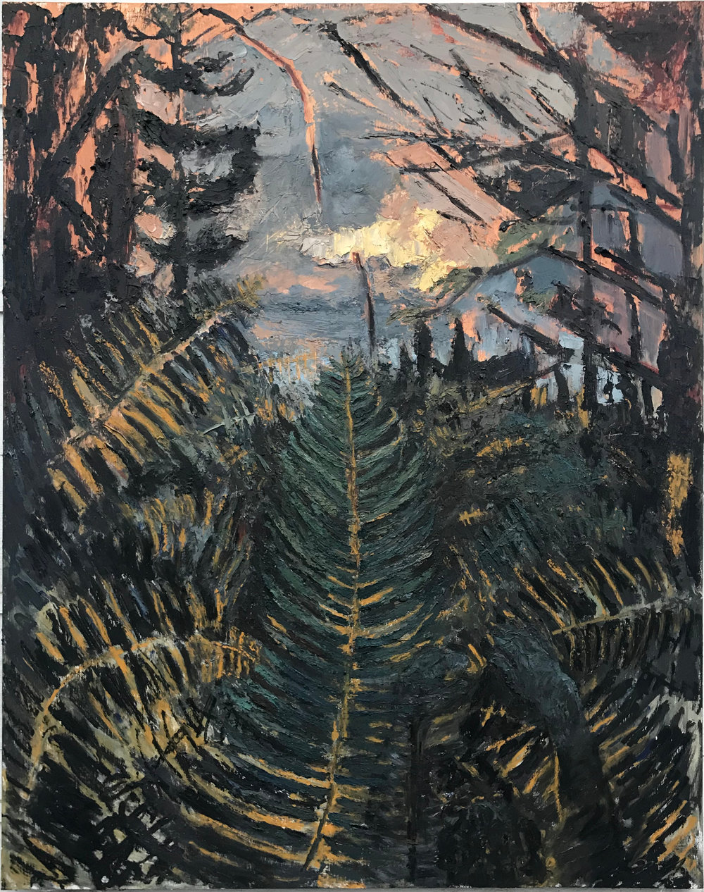 Ferns at Dusk (Winter), oil on panel, 60.75 x 48 in., 2018