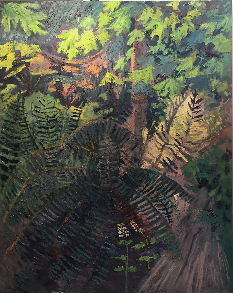 Ferns with Fringecups, oil on panel, 48 x 60.75 in., 2018