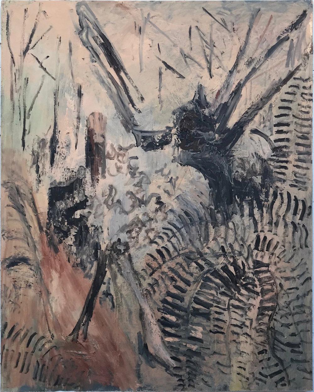Bear Log, oil on panel, 60.75 x 48 in., 2018