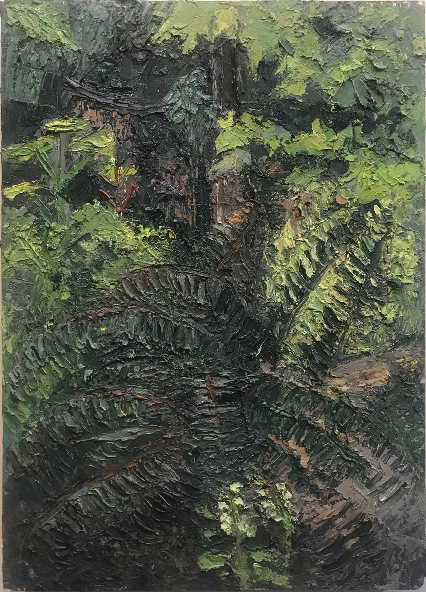 Hummingbird, oil on panel, 18 x 12.75 in., 2018
