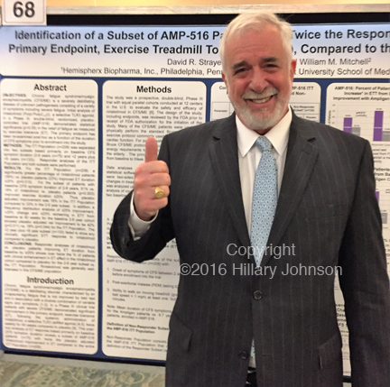 Tom Equels, a Florida native who has been president of Hemispherx Biopharma since 2015 and CEO since February 2016, in front of his company's poster at the IACFS/ME conference in Ft. Lauderdale. Hemispherx Biopharma has been seeking FDA approval for its nearly curative drug (in some patients) ampligen since 1991. Recently, ampligen received approval for use in M.E. in Argentina, the first time the drug has been approved by a government for treatment of M.E. This paper attempts to satisfy FDA's latest demand: how to differentiate people who will respond to ampligen from people who will not. Hemispherx employed a treadmill exercise test.