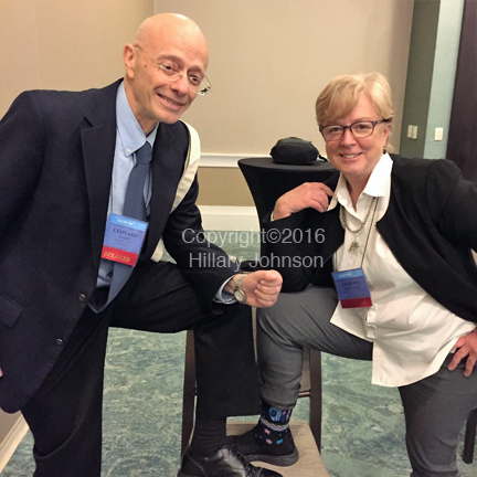 Leonard Jason, Ph.D.,DePaul University and Lucinda Bateman, medical director of the Bateman Horne Center of Excellence in Salt Lake City.Friends and lifetime members of the IACFS, Dr. Batemen was showing off her crazy socks, a staple of her campaign to raise M.E. awareness and funds and Dr. Jason was just goofing around. Write your own caption!