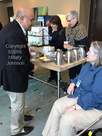 Jose Montoya of Stanford University greeting patient Mary Schweitzer at the Ft. Lauderdale IACFS Conference in October 2015