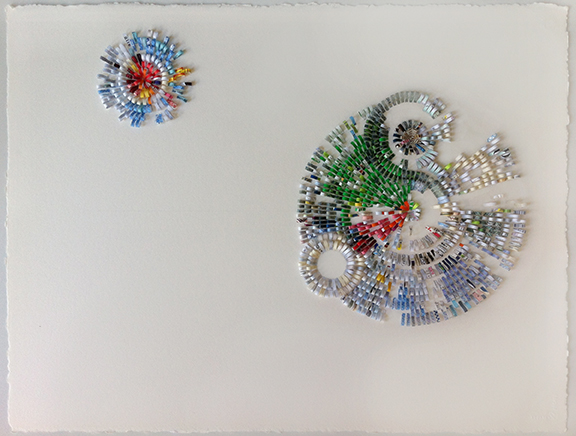 """Shredded 33, 2012, paper collage on paper, W32"""" x H24""""."""