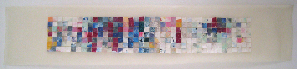 "Winter of Will 3, 2007, oil paint on paper hand stitched on Organdi cotton fabric, w3.5"" x h20.5""."