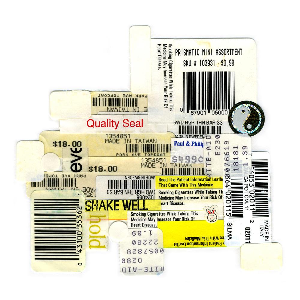 "Kitchen Art 6, ""Eve"", 2000, stickers on Polythene, W11"" x H14""."