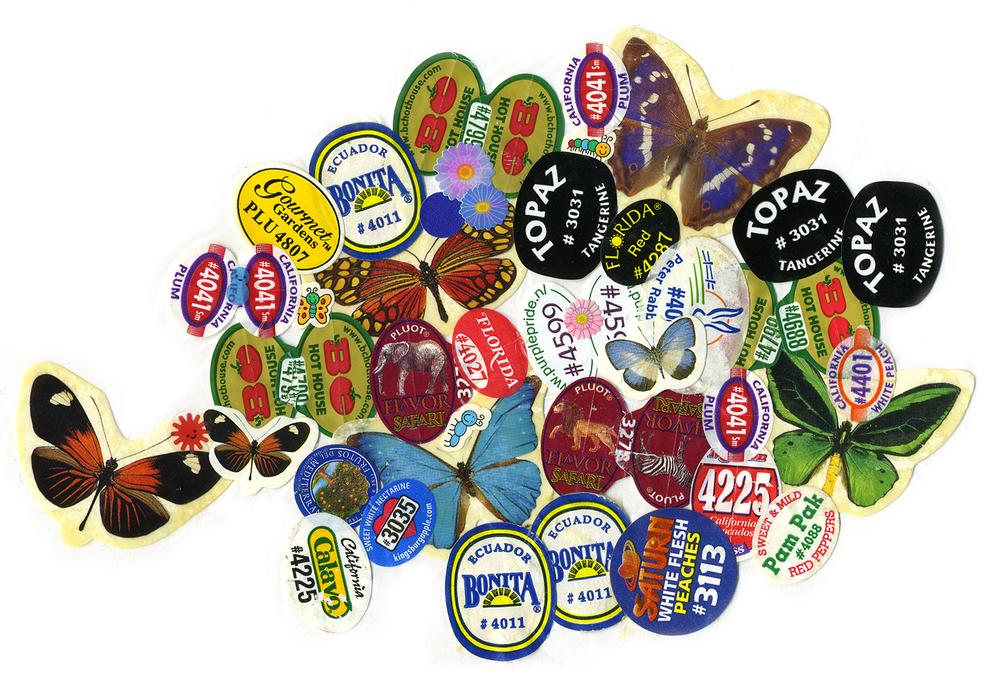 """Kitchen Art 8, """"Ecuador"""", 2000, stickers on Polythene, W11"""" x H14""""."""