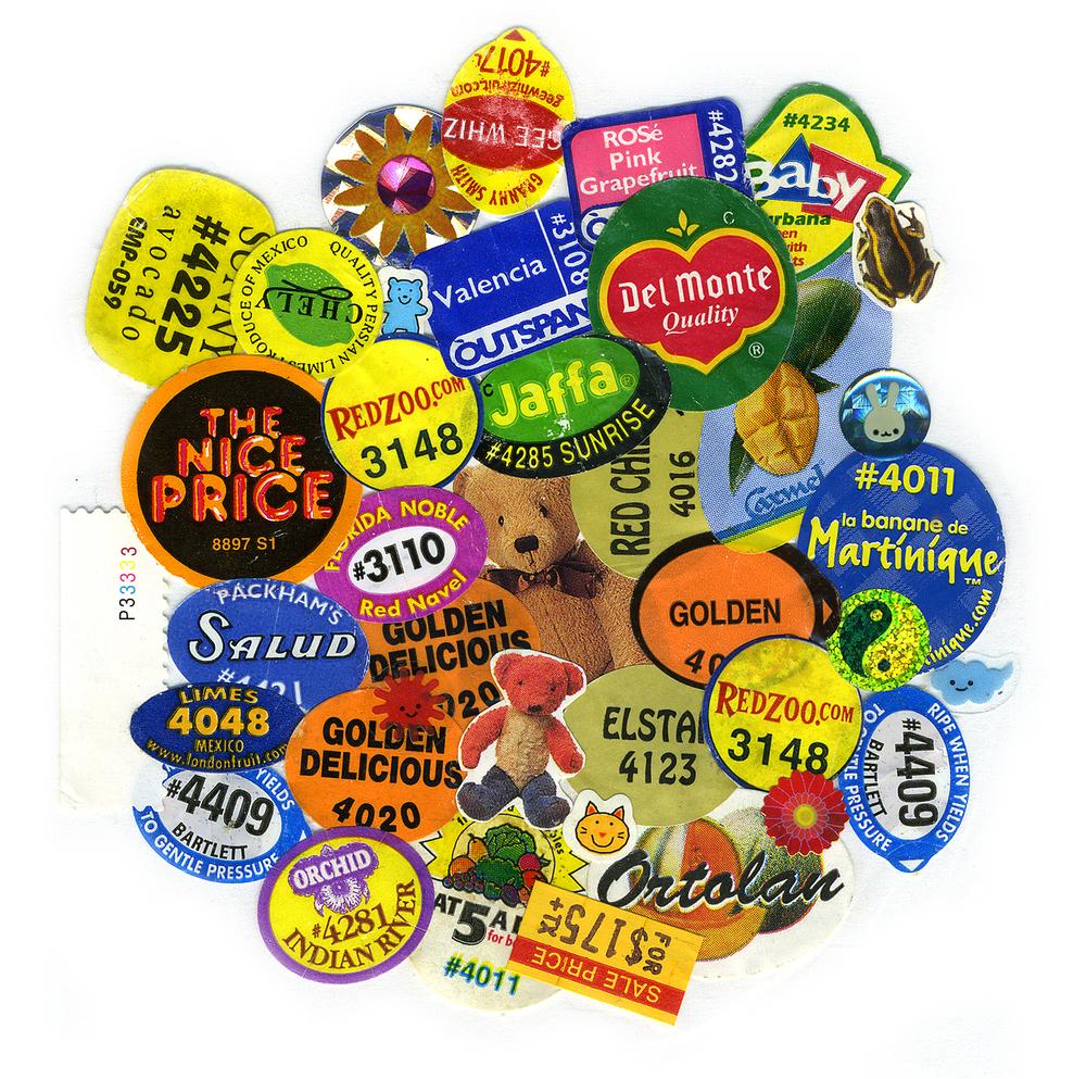 "Kitchen Art 14, ""the nice price"", 2000, stickers on Polythene, W11"" x H14""."