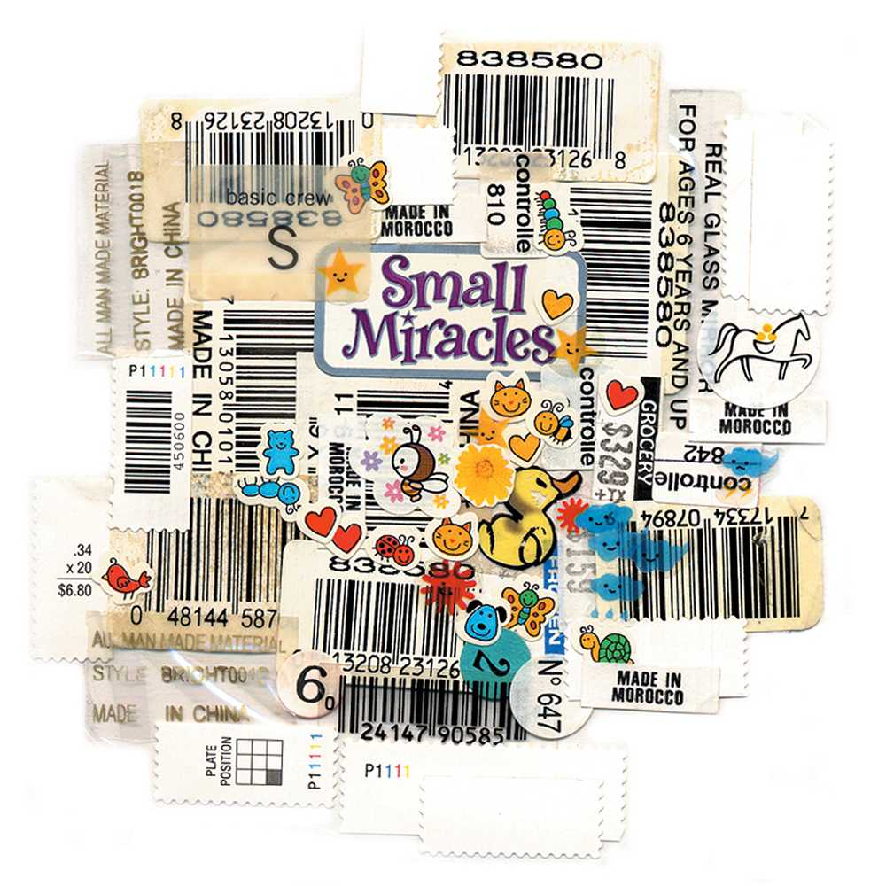 "Kitchen Art 26, ""Small Miracles"", 2002, stickers on Polythene, W11"" x H14""."