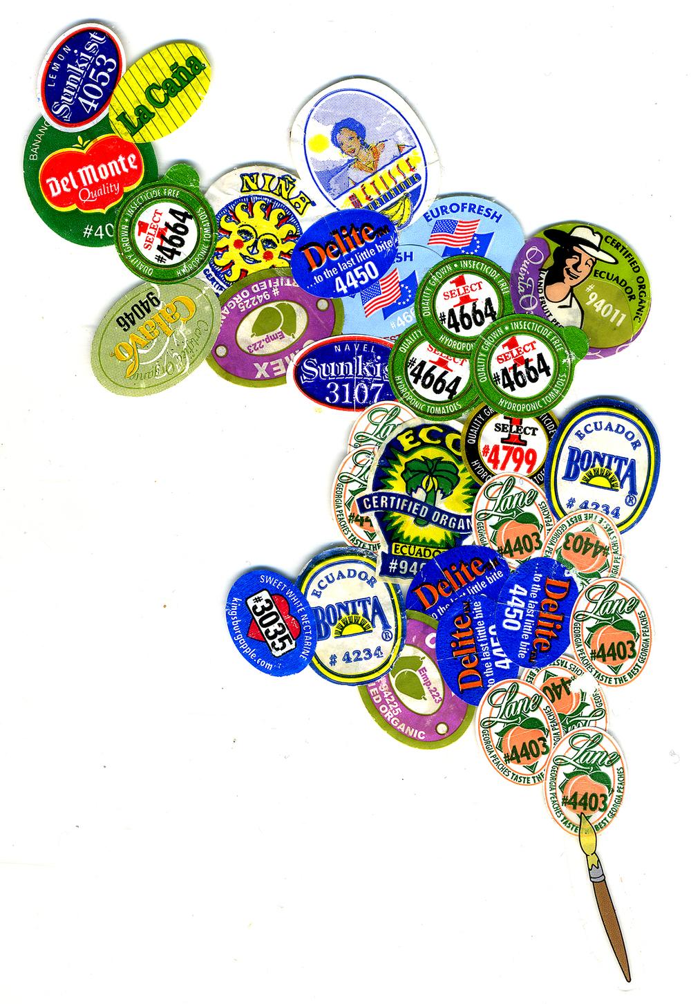 "Kitchen Art 33, ""Delite"", 2003, stickers on Plexi, W11"" x H14""."