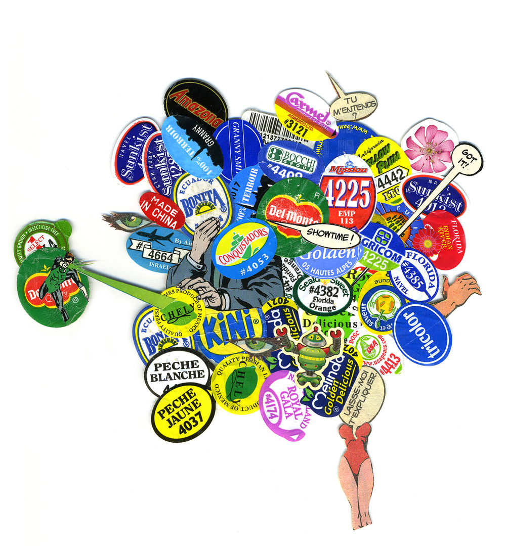 "Kitchen Art 40, ""Tu m'entends?"", 2003, stickers on Plexi, W11"" x H14""."