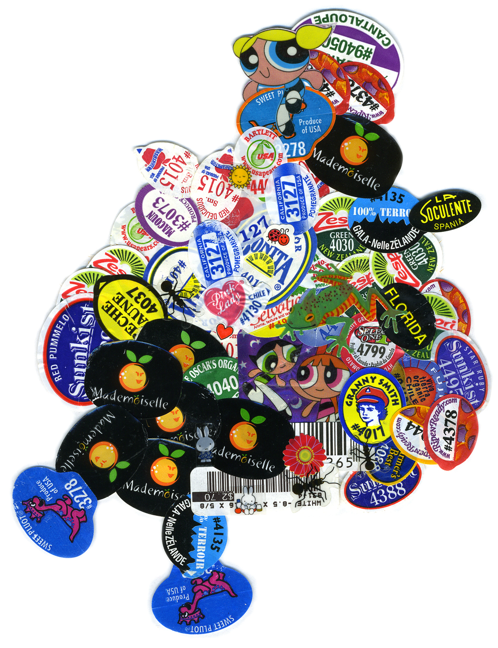 "Kitchen Art 46, ""Mademoiselle La Soculente"", 2005, stickers on Plexi, W11"" x H14""."