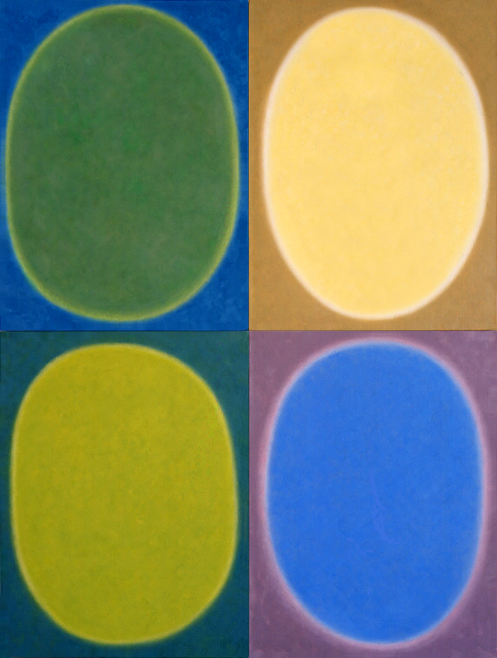 """Silent 11, oil on canvas, 2002, series of 4 panels W18"""" x H24"""" each, total format W36"""" x H48"""". Private collection."""