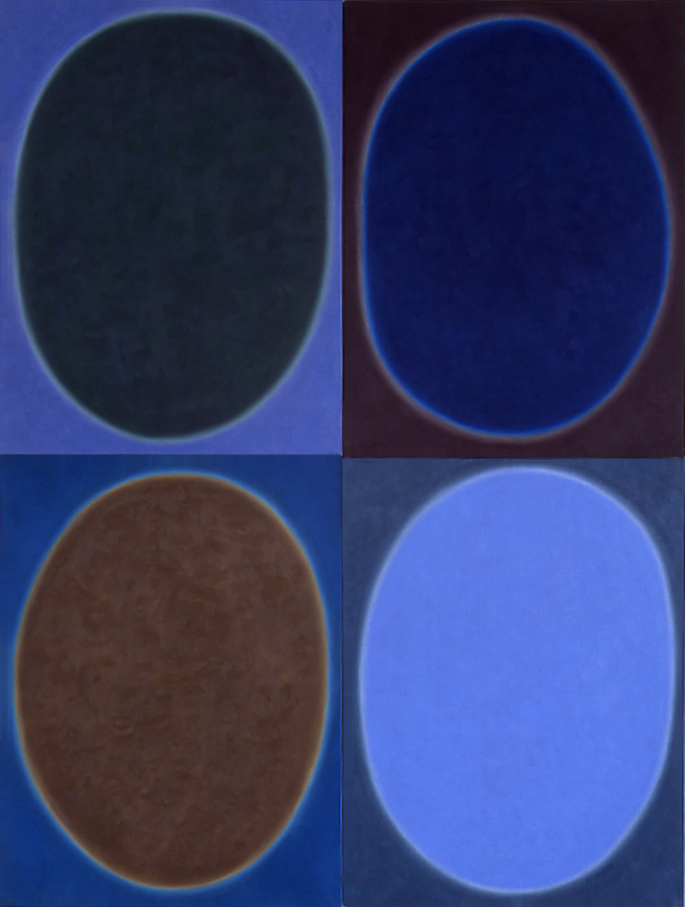 "Silent 12, oil on canvas, 2002, series of 4 panels W18"" x H24"" each, total format W36"" x H48"". Private collection."