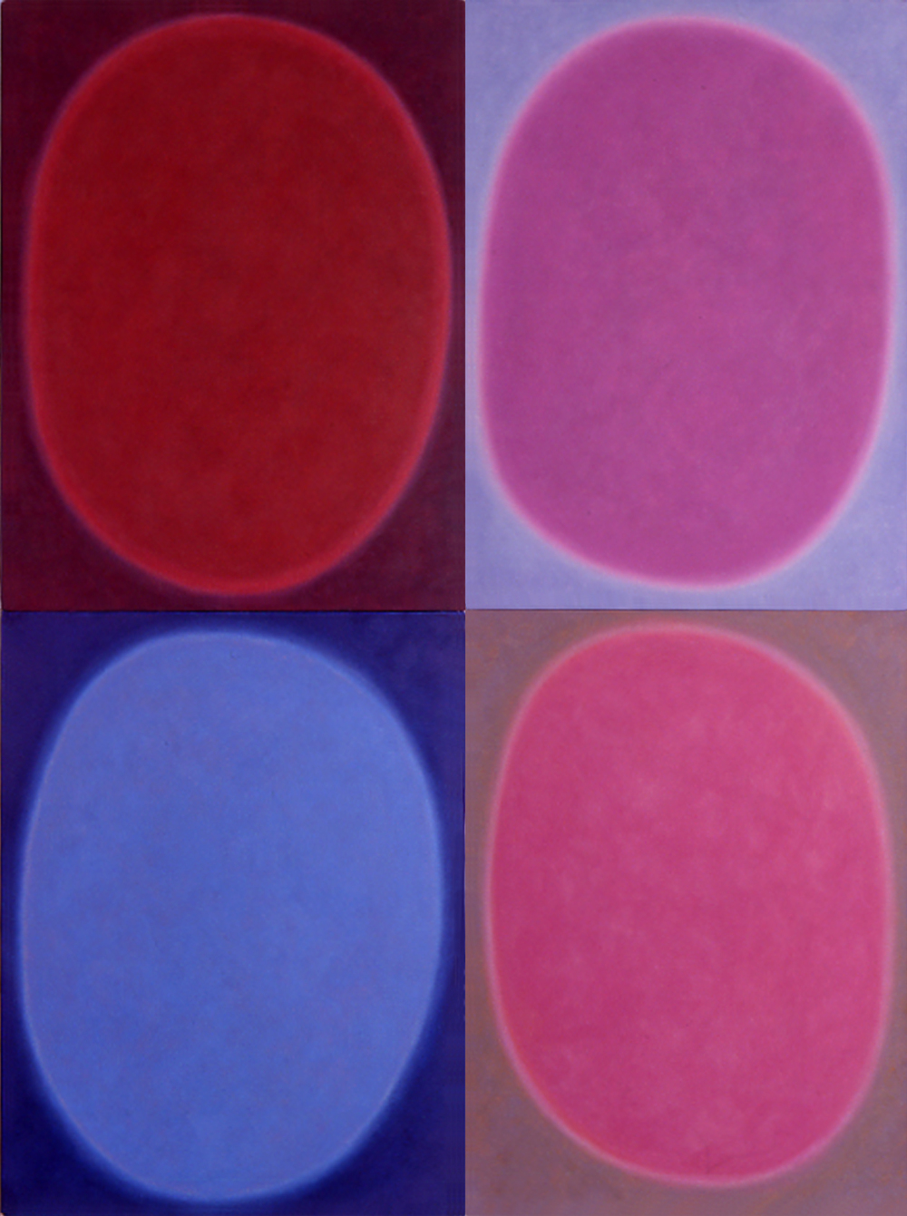 "Silent 13, oil on canvas, 2003, series of 4 panels W18"" x H24"" each, total format W36"" x H48"". Private collection."