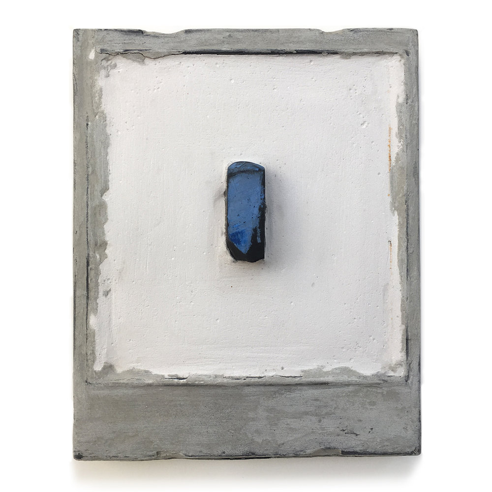 "Box 1, 1997. Polaroid box, Paris plaster, charcoal and old paint. W3.75"" x H4.25"" x D0.5""."