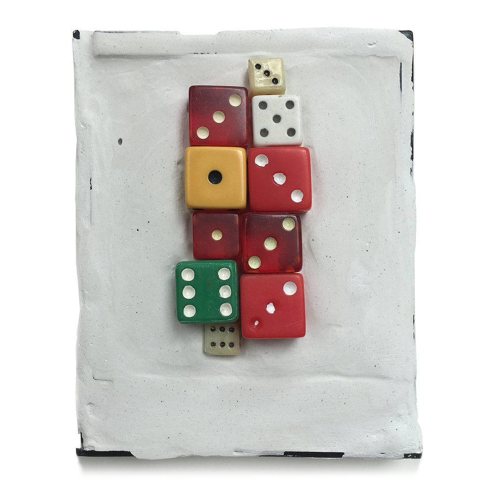 "Box 38 - Chance, 2004. Polaroid box, Paris plaster, dice. W3.75"" x H4.25"" x D0.5""."