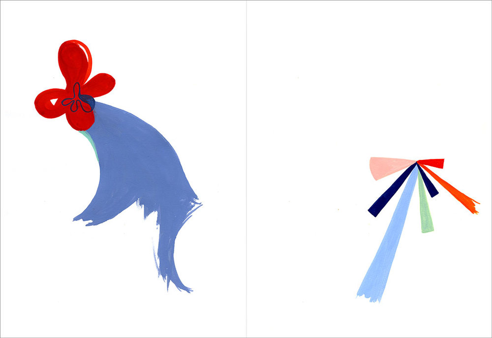 "Talkative (x2) 16, 2012. Gouache on paper, two sheets W9"" x H12"" each, side by side."
