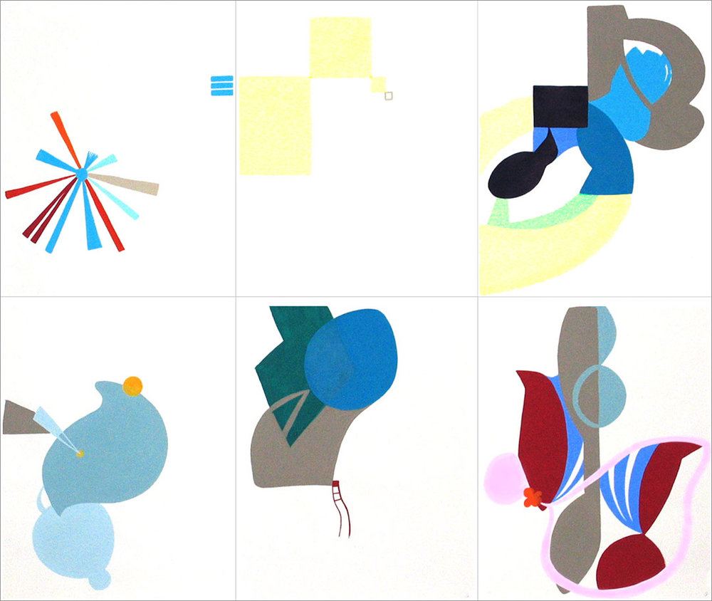 "Talkative (x6) 5, 2004. Gouache on paper, 6 sheets W9"" x H12"" each, overall size W27"" x H24""."