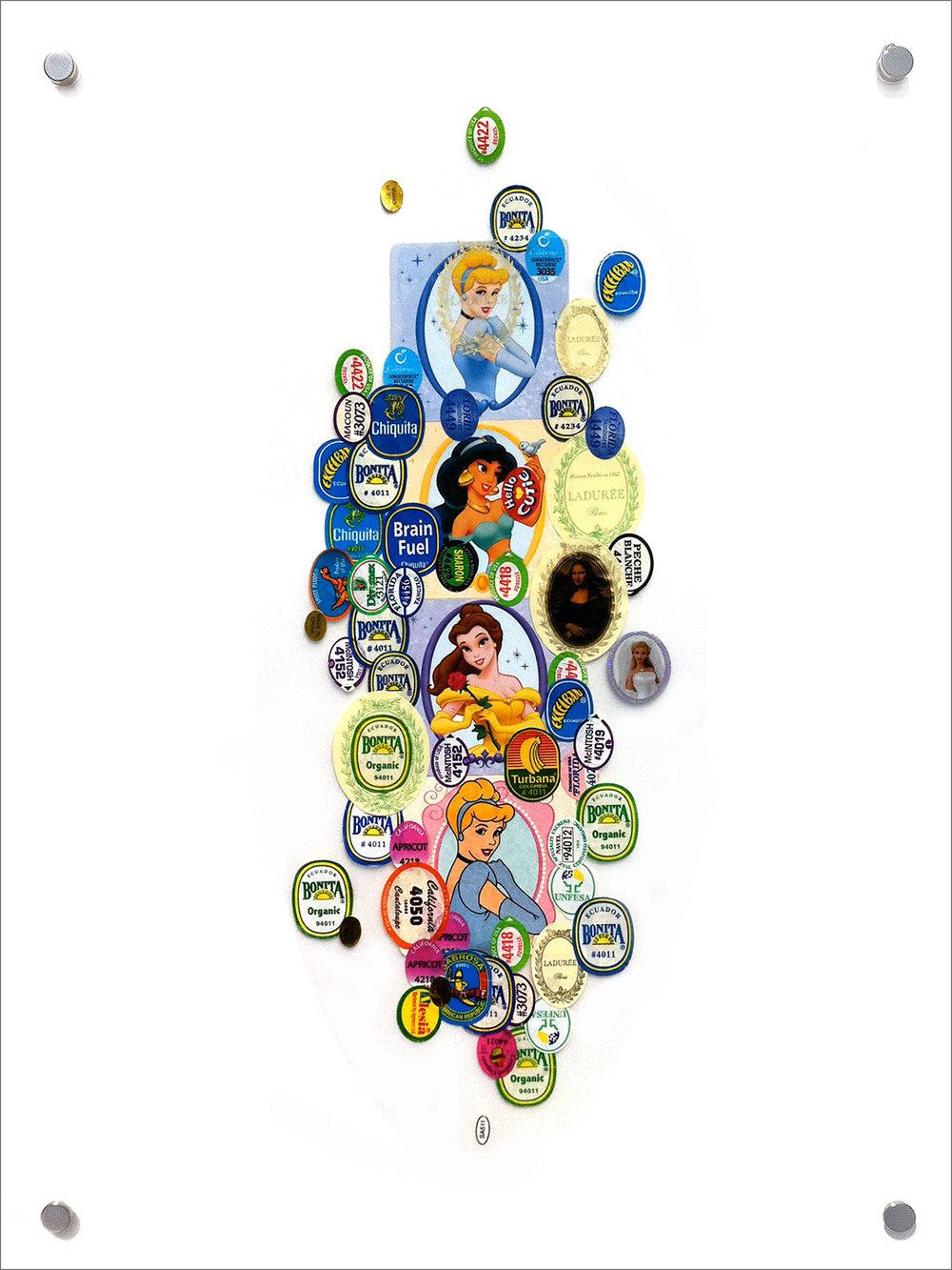 "Kitchen Art 63, Brain Fuel, 2011, stickers on Plexiglas. W14.5"" x H19.25""."