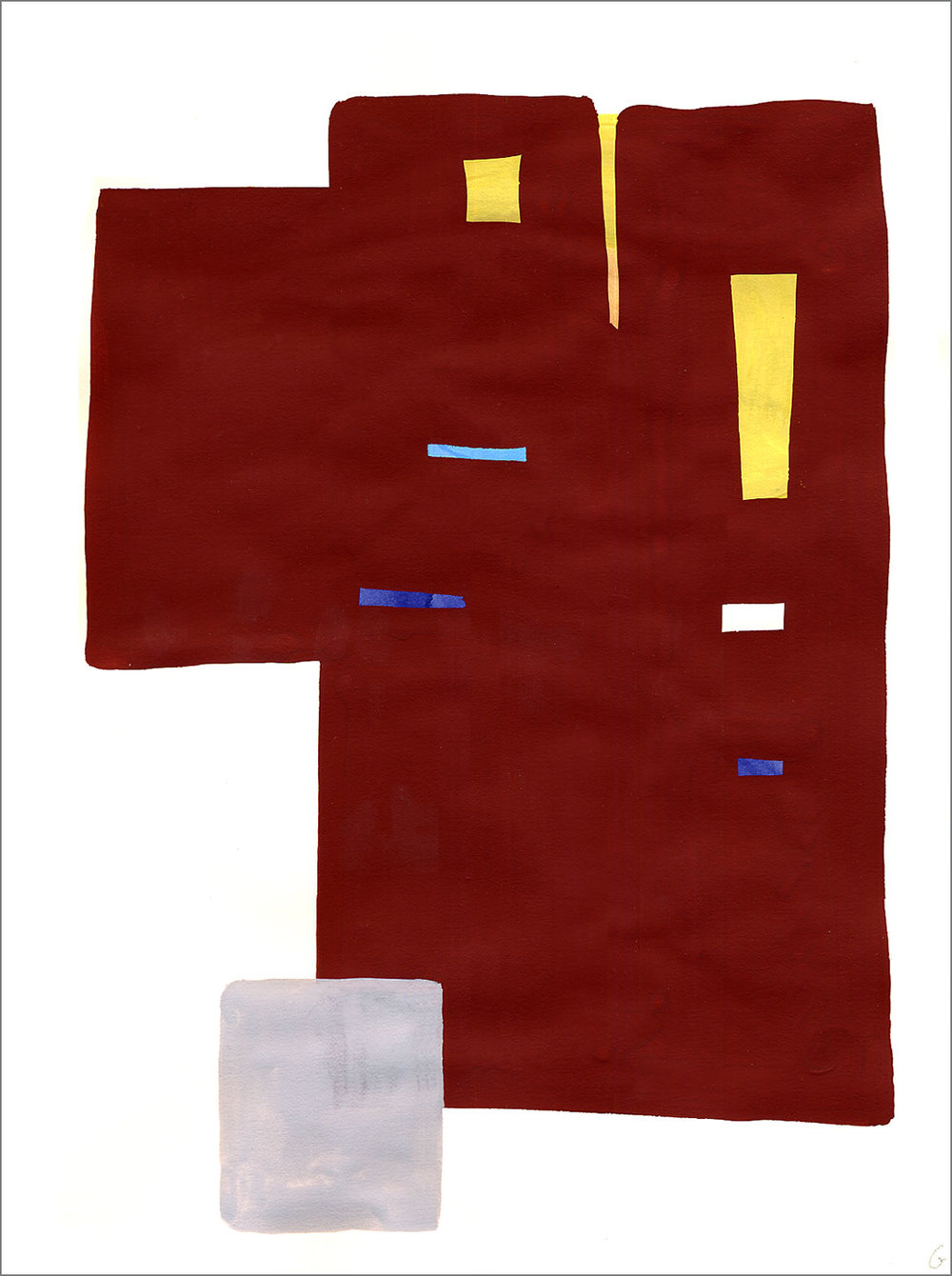 "Fort 4, 2005, W9"" x H12"", gouache on paper."