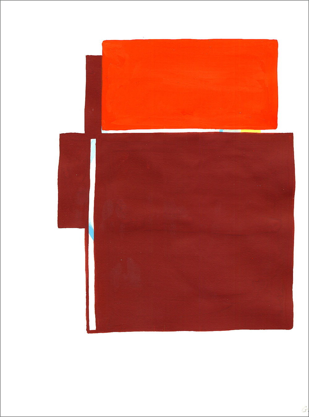 "Fort 9, 2005, W9"" x H12"", gouache on paper."