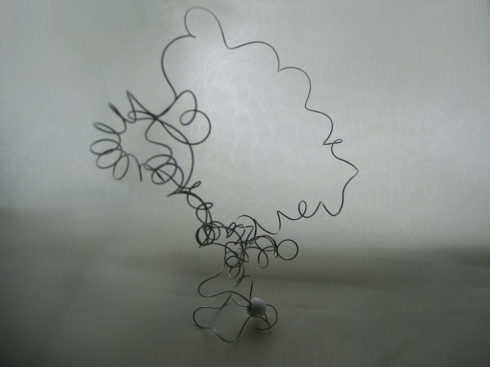 "Invisible 3, 2005, wire and glass, approx. 7"" x 5"" x 4""."