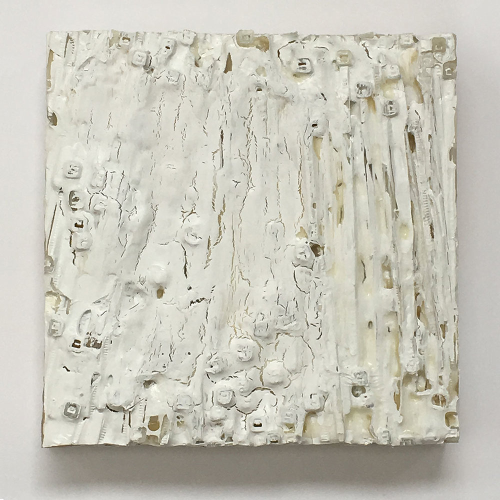 "3B60 #8, 2015. Plastic and Acrylic on wood panel. W5"" x H5"" x D1""."