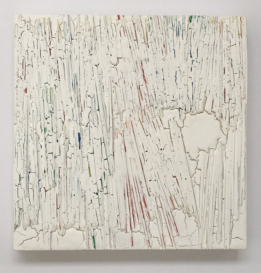 "3B60 #10, 2016. Plastic, acrylic on wood panel. W5"" x H 5"" x D1""."