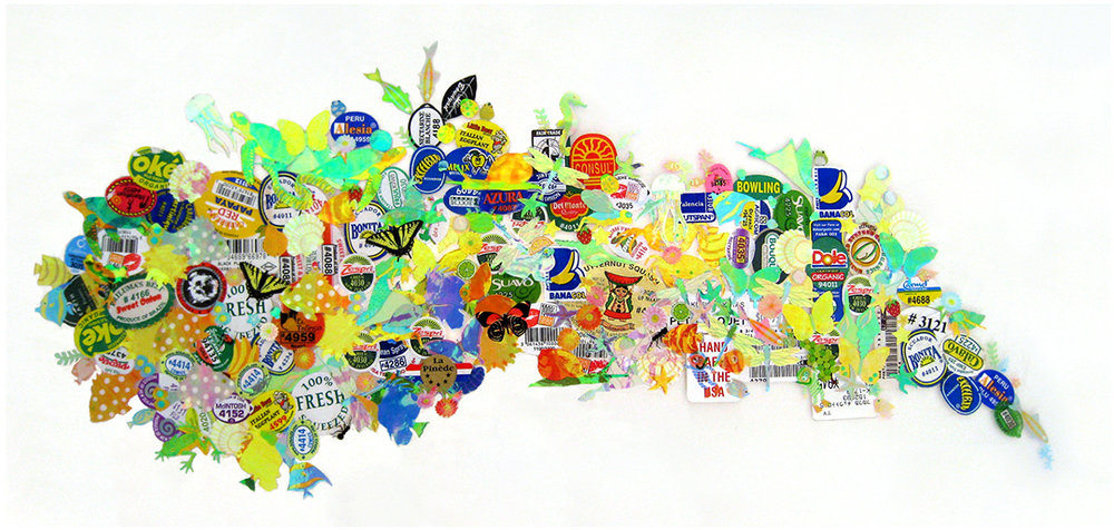 "Kitchen Art 53, Fair Trade, 2008, stickers on Plexiglas, W31"" x H15""..5"