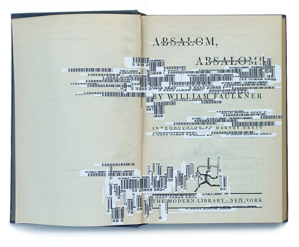 """Faulkner's Interferences 1, Absalom, Absalom"", 2012. Collage on vintage book 1951 edition, H7.25"" x W9.75"". Collection of the Muzeul Literaturii Romane Bucharest, Romania."