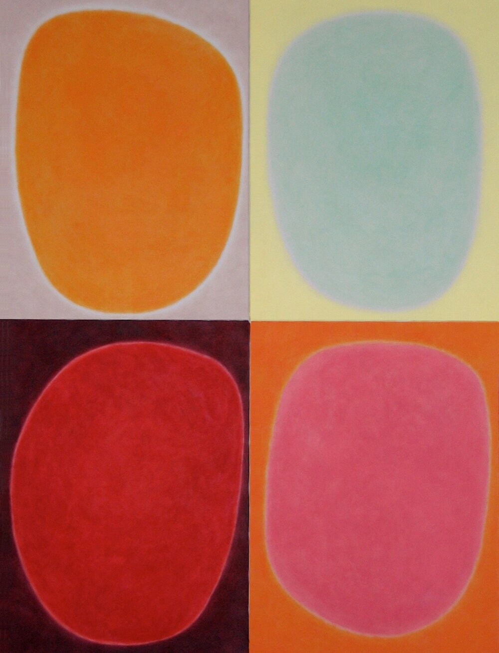 "Silent 1, oil on canvas, 1997, series of 4 panels W18"" x H24"" each, total format W36"" x H48"""