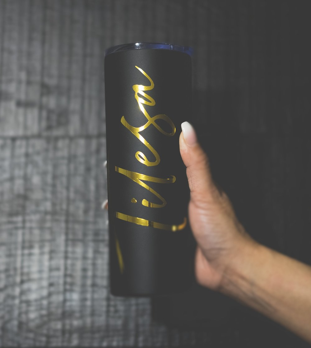 "The highly requested Signature Matte Black and Gold Tumbler is just another free gift the lucky 100 will receive. This one says ""Tilesa"" and yours will say MixxedFit®."
