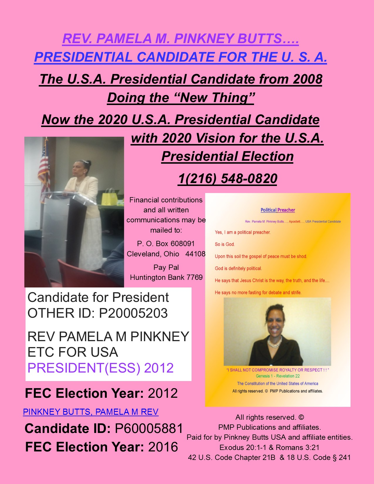 Rev. Pamela M. Pinkney Butts 2020 U.S.A. Presidential Candidate