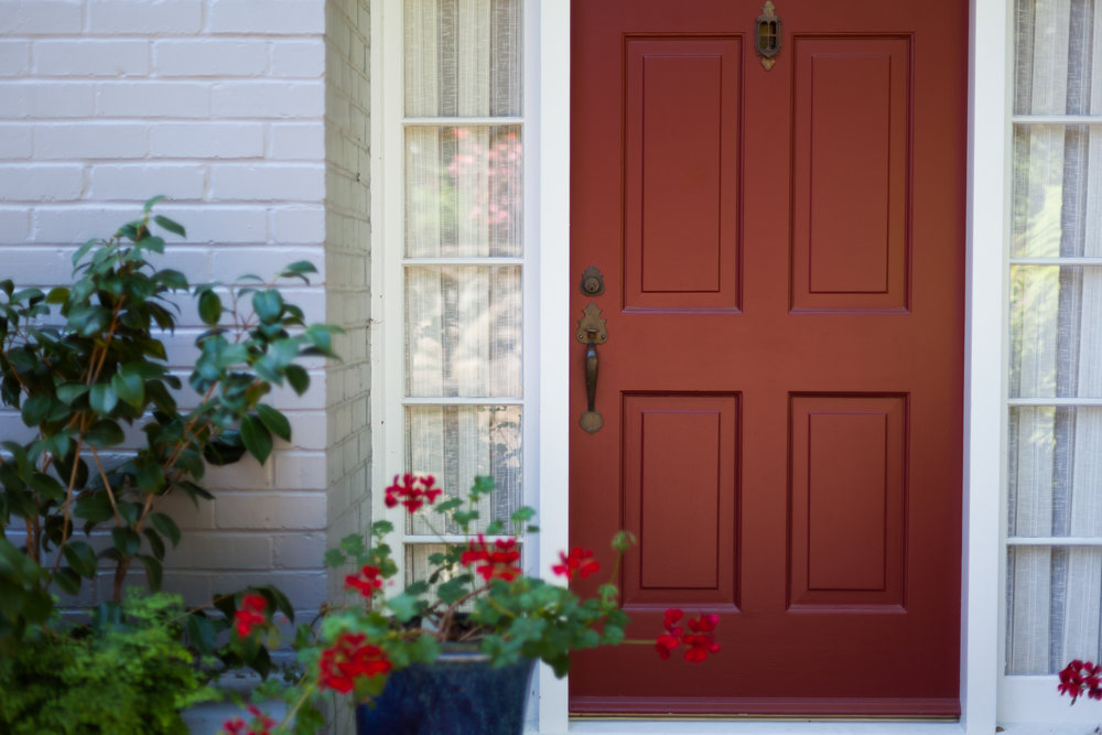 Santa Barbara Residence Exterior Painting, Deep Red Front Door Color, Blue  Satin Brickwork,