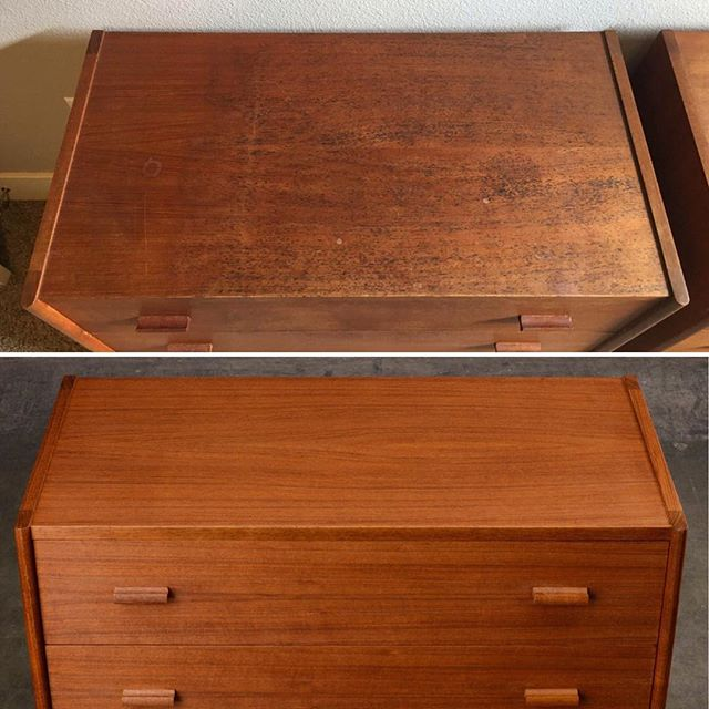 Before and After  This pair of teak dressers came in with black rust blooming in the grain of the wood and general fading and wear--even rougher than they look in the 'before' photos. Our restoration team did a great job removing the rust and resetting the wood to its original state. There's no stain involved here -- nothing covering up defects. The color comes naturally from the teak, and the wood's clarity and dynamic reflective qualities are preserved.  The dressers were acquired in Denmark by our client's grandmother nearly 60 years ago, and we're honored to have gotten to restore them for another generation of family use.  #furniturerestoration #danishmodern #midcenturymodern #madsenmodern