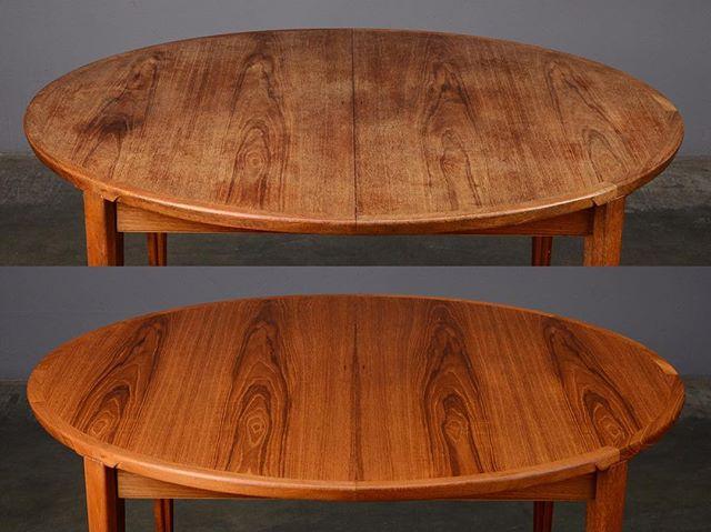 Order restored! If your table's seen better days, we can help. ✨  Rosengren Hansen teak dining table, c. 1965  #furniturerestoration #danishmodern #danishmoderntable #midcenturymodern #madsenmodern #rosengrenhansen