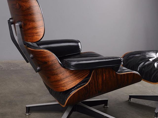 Early production Eames Lounge in black leather and Brazilian rosewood, lovingly restored. Is it time?  #eameschair #eamesloungechair #eameslounge #madsenmodern #furniturerestoration