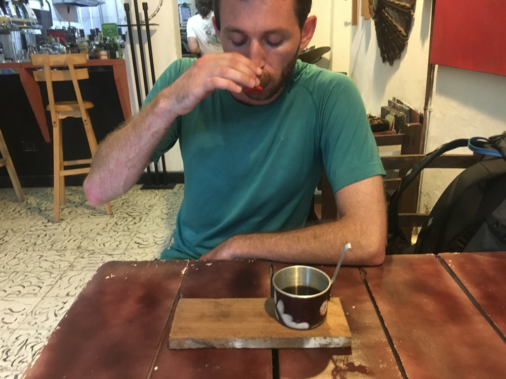 trying Colombia coffee (cafe campesino) for the first time!