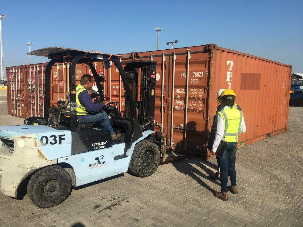 breaking the seal with a forklift