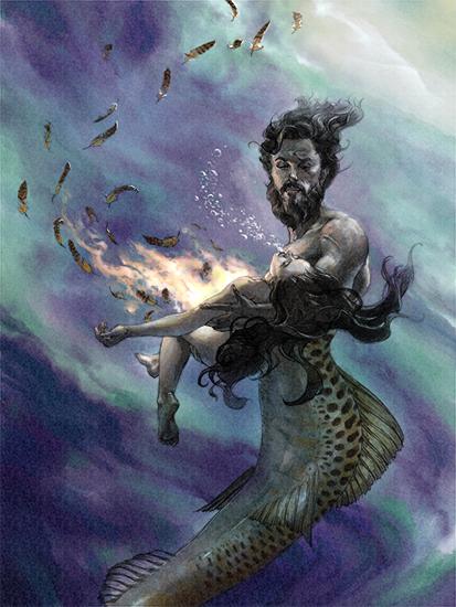 """Poseidon Saves Parthenope"" digital over pencil"