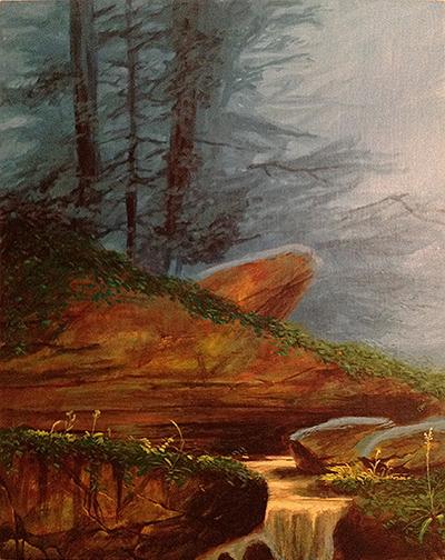 "Art School study, after Darrell K. Sweet. 16x20"" acrylics on canvas"