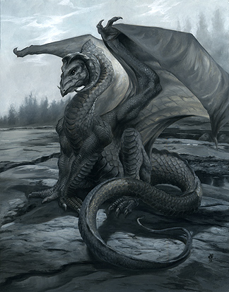(R:) Naskeag Dragon, oils on watercolor board $600
