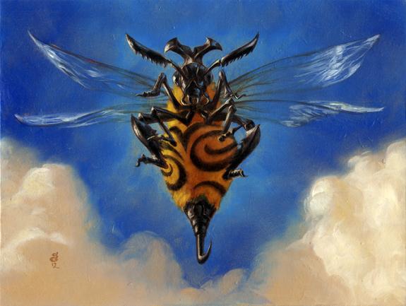 """Killer Bee"" 6x8"" Oils on illustration board Sold"