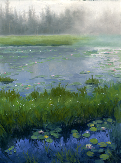 """Ames Pond"" 12x16"" Oils on treated watercolor board Sold"