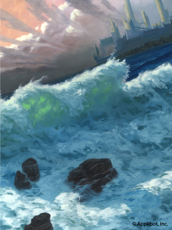 Sea Servant in-progress, background fully painted.